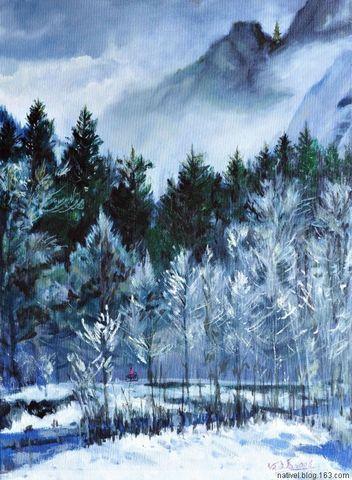 致画家文采(二)雪落在Yosemite(油畫與新詩)(原創) - rx0818 /  蓝鸟 - 时空中消逝的影子-----在记忆中寻回