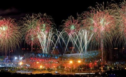 2008北京奥运开幕式 五彩焰火映红夜空