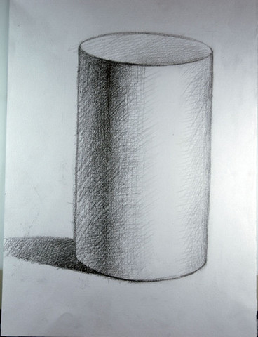 3月27日素描课随拍 圆柱体明暗画法示范图片