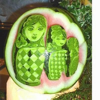 令人惊叹的西瓜雕刻艺术图片 - 一切在燃烧 - 一切在燃烧