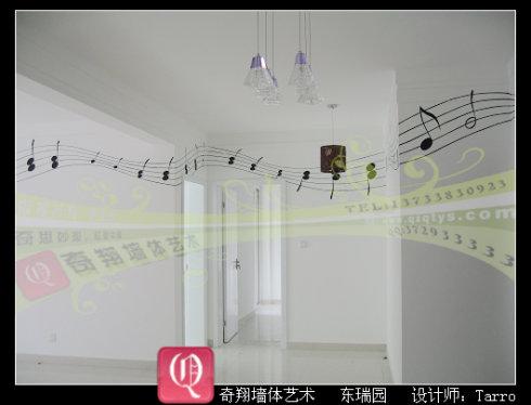 欢乐颂》的乐谱,李女士非常喜欢弹钢琴,装饰琴房时想把五线谱