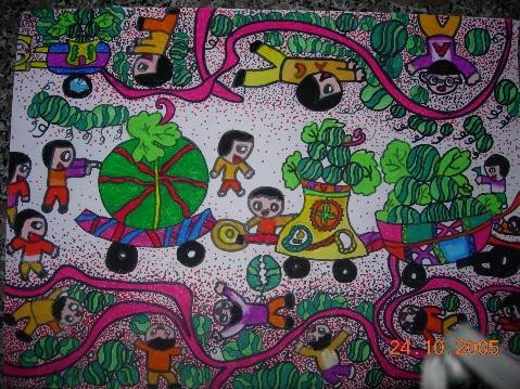 蜡笔水粉画作品   幼儿剪贴画作品   幼儿线描蜡笔画作品