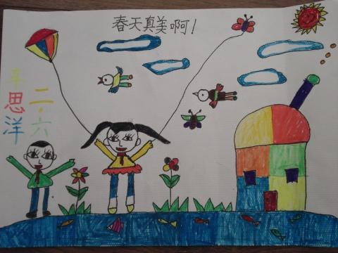 孩子们画的春天的画,很美哟!_画画大全