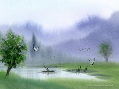 无雨问苍天【原】 - 默然 -  抱琴看鹤去  枕石待云归