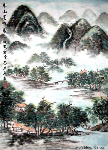 (原创)七律  自题《春山闻啼鸟》 - 凌寒 - 梅影清溪