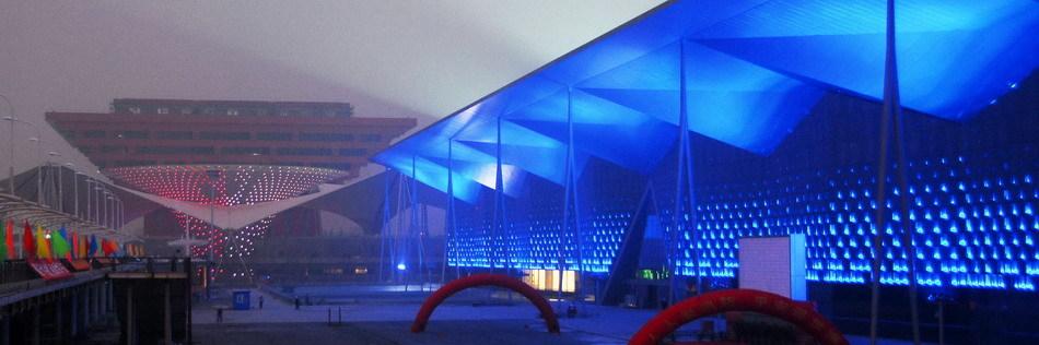 上海世博场馆调试夜景彩灯 _高清图集 - 世界500强博客 - 世界500强博客