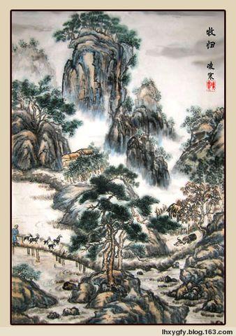 (诗画原创)七律  自题《牧归图》 - 凌寒 - 梅影清溪
