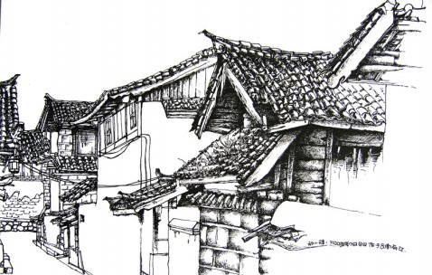 学生时期去丽江写生的速写作品图片