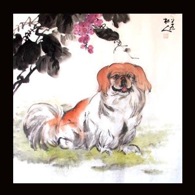 (国画)-名犬8条 - 许跟虎国画 - 许跟虎国画艺术