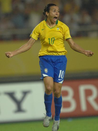 图文-[女足世界杯]美国VS巴西兴奋的足球小姐