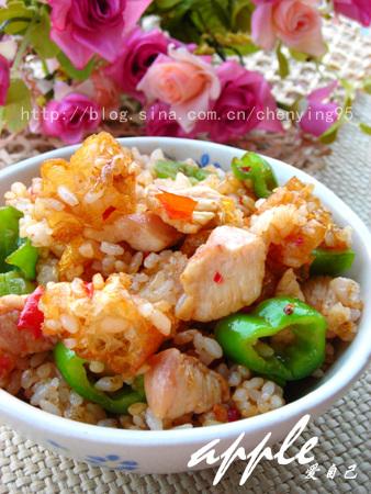 传递幸福--用12款华丽丽的米饭:椒香鸡丁油条炒饭 - 可可西里 - 可可西里