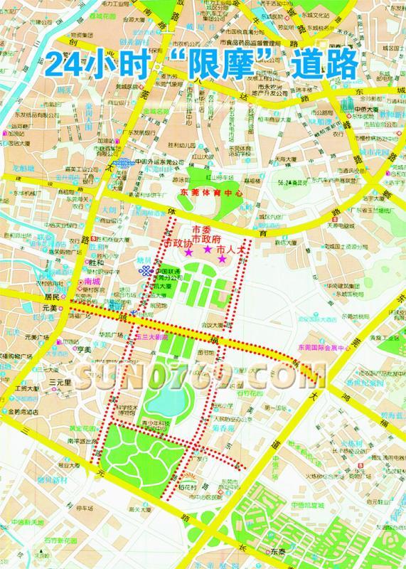 东莞市区限摩,禁摩地图