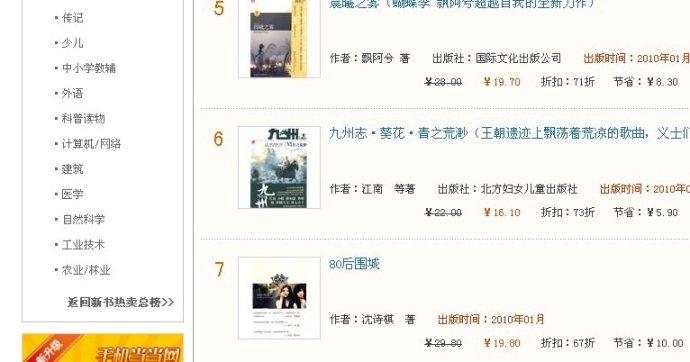 《80后围城》当当网青春文学类销售排名第7… - 亨通堂 - 亨通堂——创造有价值的阅读