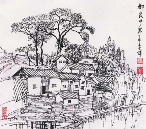 手绘红枫图片铅笔画