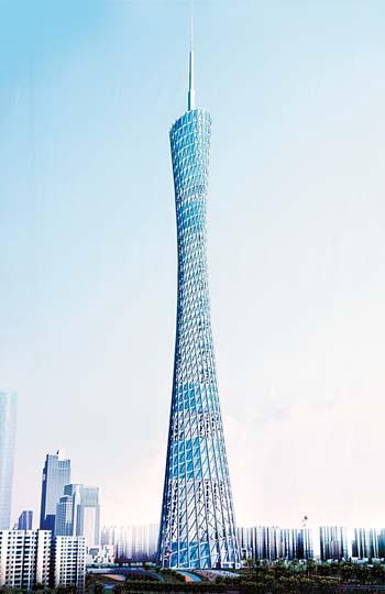 广州新电视塔会变色 白天银灰夜晚五彩[组图]