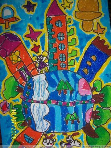 中班繪畫:地球上的房子