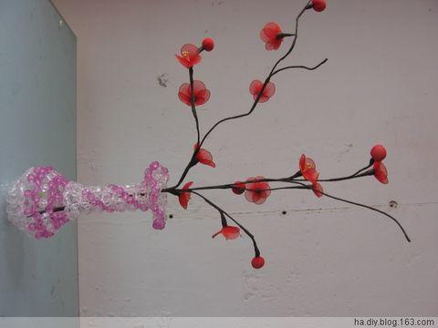 丝网花梅花盆景图片_我的丝网花作品  梅花