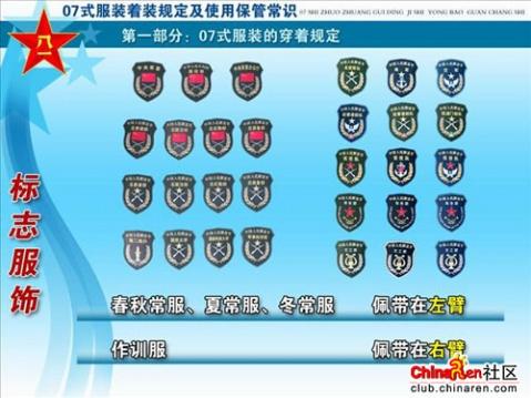中国人民解放军07式军衔级别资历章详解 图图片