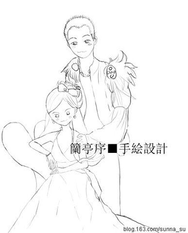 男女婚纱手绘图片