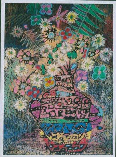 儿童版画欣赏 花瓶 - 彤馨童画 - 彤馨·童画的博客