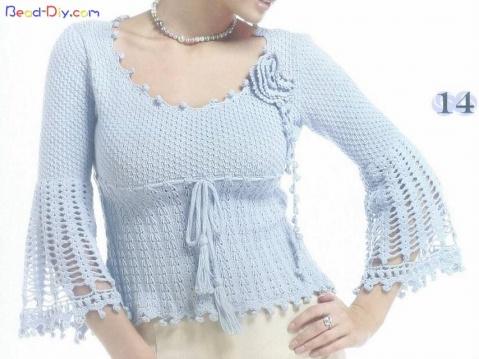 【引用】钩织相结合的一件衣服(水袖上完工图了) - 长毛兔 - 长毛兔的博客
