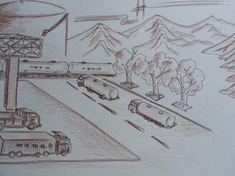 (原创)神化油库大门,壁画设计草图2 - 2008zhouwenbo - 周文波博客