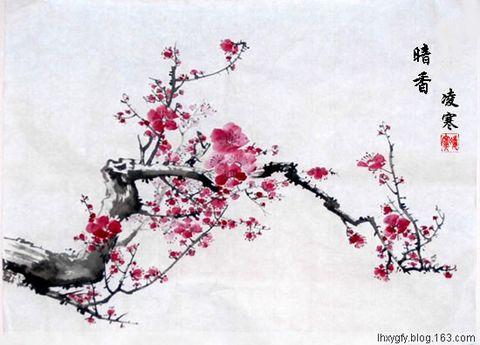 国画--红梅 - 凌寒 - 梅影清溪