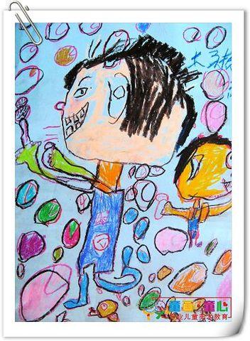 童画童心08秋季启蒙B2班美术活动12——吹泡泡乐 - 童画-童心儿童美术 - 童画-童心儿童美术