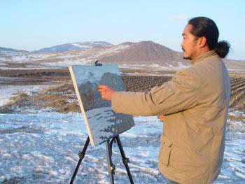 利夫熟息的画家--油画家肖景志 - 利夫 - 芍药,叶脉画电话13936097957