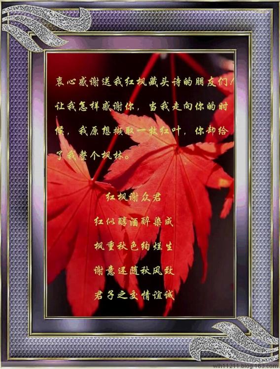 红枫衷心谢诸君 - 红枫 - 红枫的博客