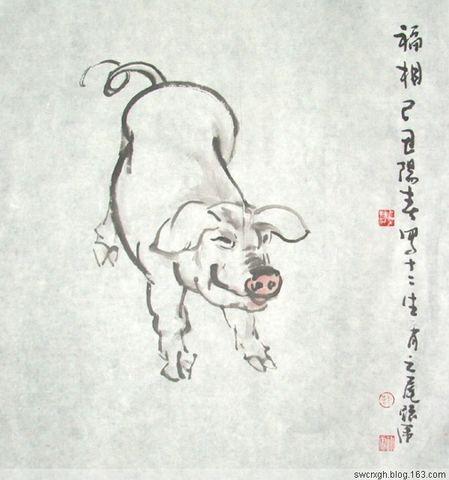 国画作品十二生肖 【亥猪】 - 墨海游龙 - 许跟虎国画艺术