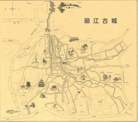 丽江古城手绘地图