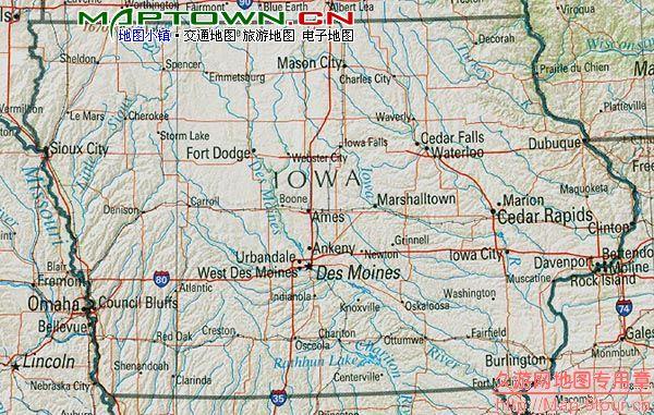 北美洲(North America): 美国爱荷华州(IA Iowa)地图和经维度 - astrojina - AstroJina的星座世界