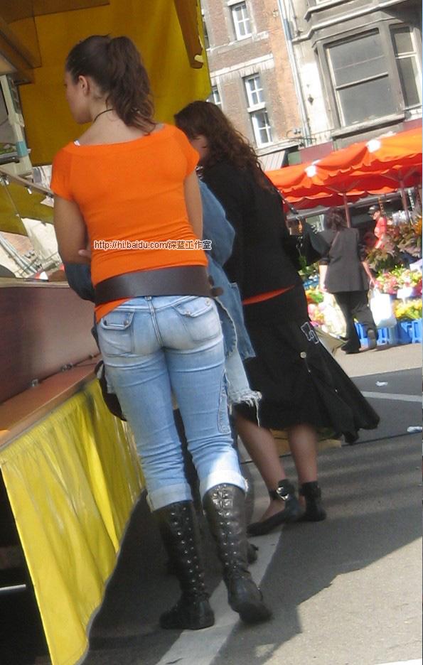 街拍街头黄发美女牛仔裤 4p kingbbbbbb 女孩赏析