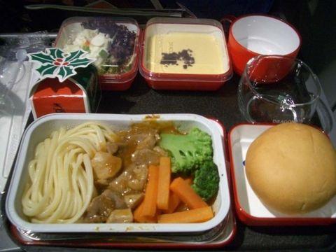 飞机上还有圣诞餐~!