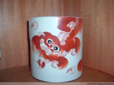 民国笔筒(矾红) - 泉之源 - 龙聚龙乡