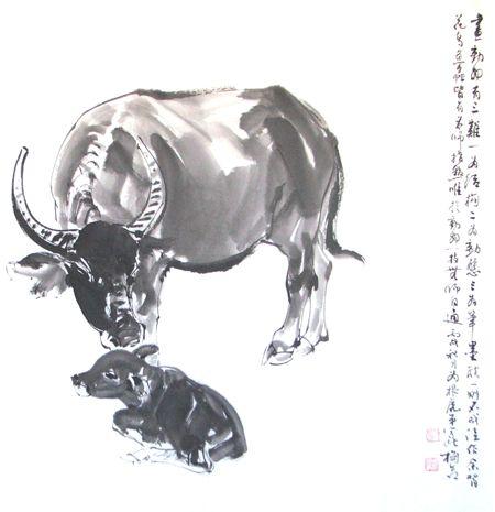 老师送我两幅画 - 墨海游龙 - 许跟虎国画艺术