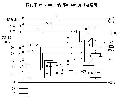 plc内部rs485接口电路图