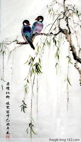 (原创)七律 自题《柔情似柳》图  - 凌寒 - 梅影清溪