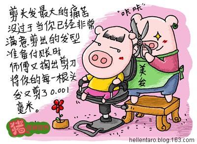 【猪眼看生活】剪头发地痛苦 - 恐龟龟 - *恐龟龟的卡通博客*