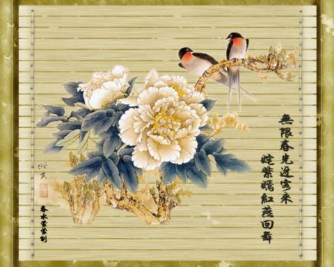 竹简牡丹图(音画) - zgx风清雨润 - zgx风清雨润的博客