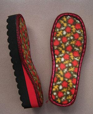 双色编织毛线拖鞋简明教程 - 夏荷 - 夏荷的博客