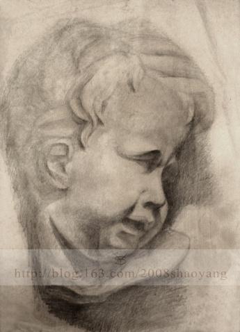 我的第一张素描石膏头像.现在看看还可以呵呵