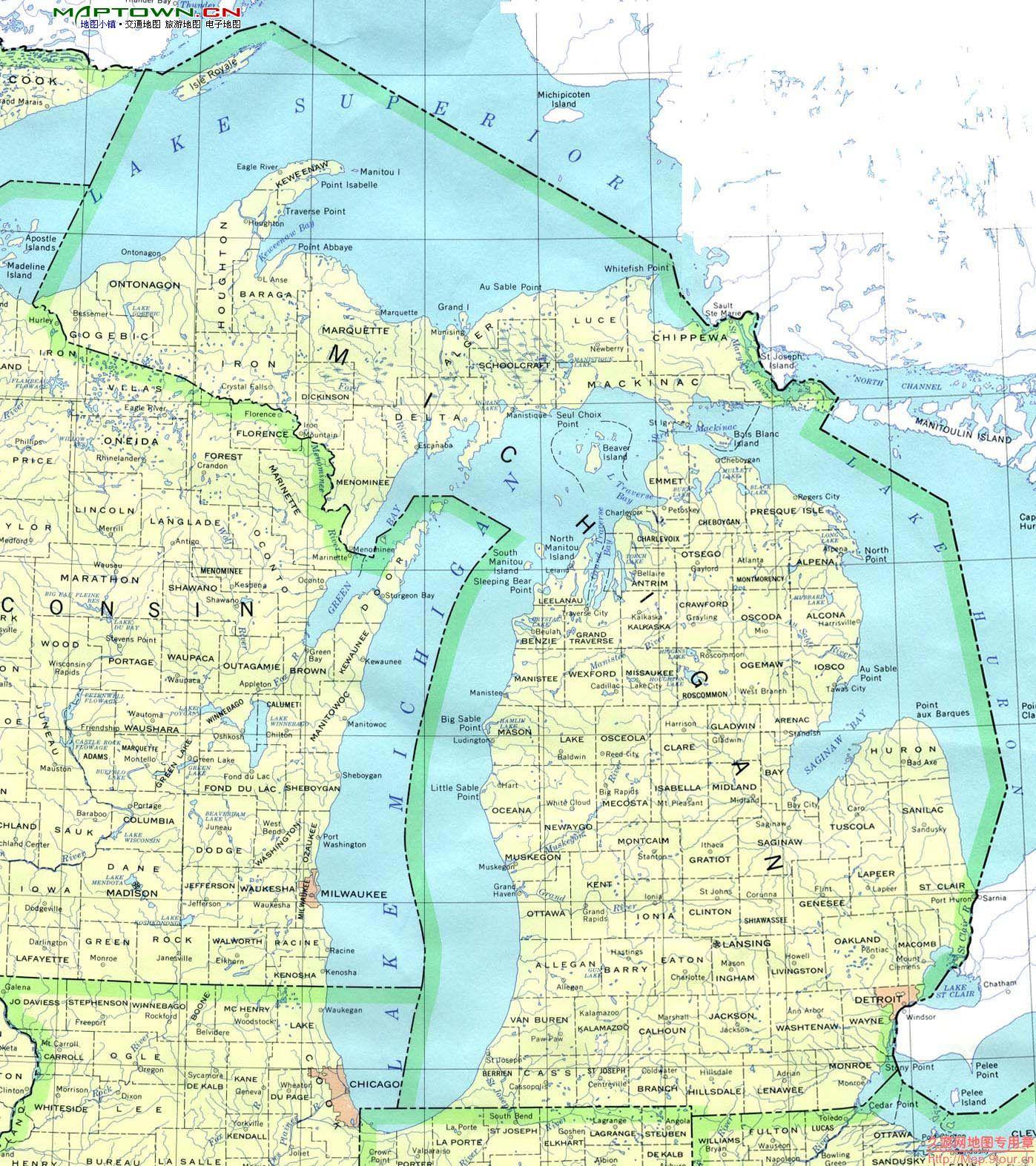 北美洲(North America): 美国密歇根州(MI Michigan)地图和经维度 - astrojina - AstroJina的星座世界