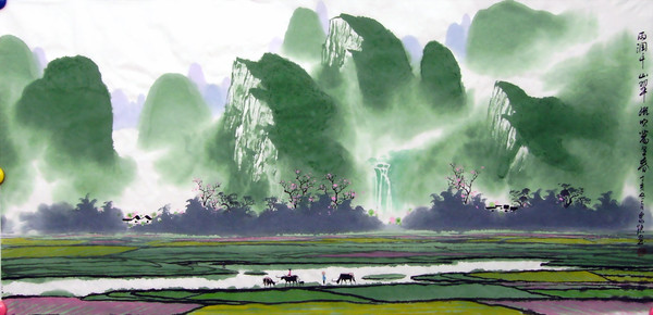 彩墨山水画 - 君子兰 -  松花江畔 君子兰的博客