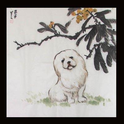 名犬(国画)-1组 - 许跟虎国画 - 许跟虎国画艺术