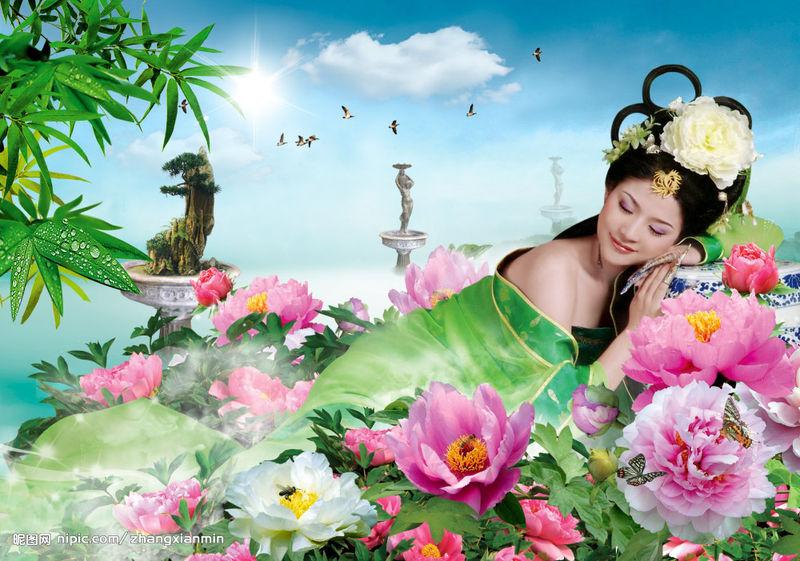 原创七律·牡丹 - 胡峰(国峰) - 剑指五洲,笔扫千军,气贯长虹,音绕乾坤