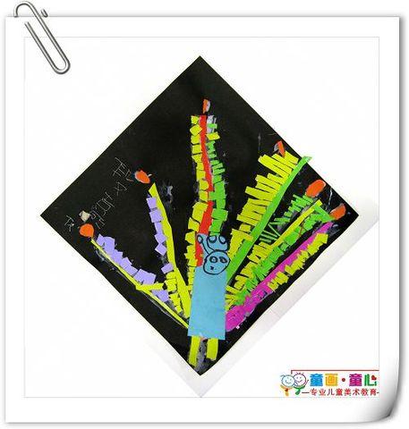 童画童心08秋季小小B班美术活动13——花孔雀 - 童画-童心儿童美术 - 童画-童心儿童美术