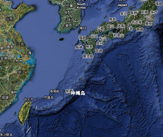 日本冲绳岛位置图