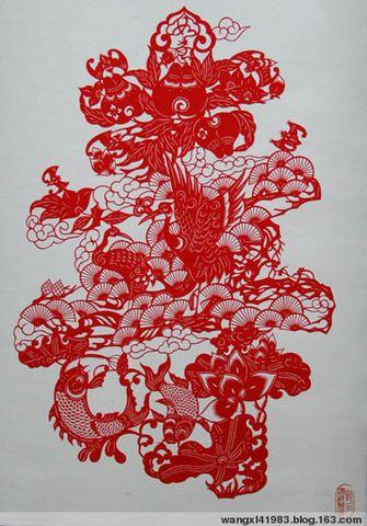 中国 精典 文化 艺术 展现 手工 剪纸 鲁迅 红楼梦 花鸟 虫鱼剪纸